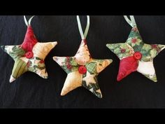 How to make patchwork star ornaments for Christmas. These are the perfect quick, inexpensive, last-minute gift for friends, family, co-workers and acquaintances. Use fabric scraps and vintage buttons for a one-of-a-kind ornament! Folded Fabric Ornaments, Quilted Christmas Ornaments, Christmas Sewing, Christmas Fabric, Noel Christmas, Handmade Christmas, Christmas Quilting, Christmas Projects, Holiday Crafts