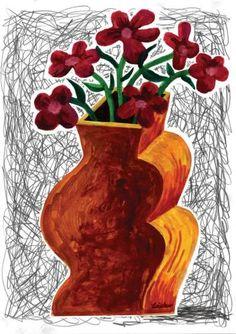 """Saatchi Art Artist Ken Laidlaw; Collage, """"Red Flowers in an Orange Vase"""" #art"""