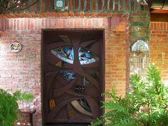 Stained Glass Iron Door by NUZ # Art # Artist at Betsy Frank Gallery #stainedglassdoor #artnuz