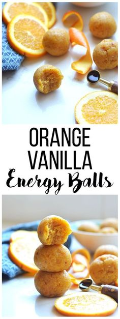 These Orange Vanilla Energy Balls are the perfect summer snack for busy days! Full of protein and carbs to fuel a workout! (snacks for school energy bites) Healthy School Snacks, Healthy Protein Snacks, Protein Bites, Vegan Snacks, Healthy Breakfasts, Vegan Sweets, Protein Foods, Real Food Recipes, Snack Recipes