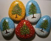 Christmas Trees Painted Rocks - reserved for Bonnie