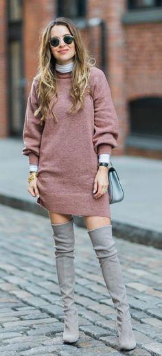 #fall #outfits women's pink longsleeve shirt