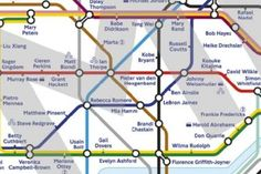Two sports journalists designed this map of the tube with station names replaced by Olympic athletes. All 2012 Olympic sports are represented.