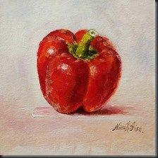 """""""Red Bell Pepper. Oil on canvas panel 6x6 inches"""" - Original Fine Art for Sale - © Nina R. Aide"""