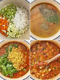 How to make minestrone soup recipe with step-by-step photo instructions. Healthy Soup Recipes, Easy Dinner Recipes, Vegetarian Recipes, Cooking Recipes, Grandma's Recipes, Ministroni Soup Recipe, White Bean Chili Vegetarian, Shrimp Lo Mein Recipe, Easy Hamburger Soup