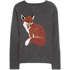 Aubin & Wills Portland fox intarsia merino wool sweater ($215) ❤ liked on Polyvore featuring tops, sweaters, shirts, jumpers, shirt top, merino wool sweater, fox sweater, merino sweater and fox shirts