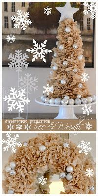 COFFEE FILTER CHRISTMAS TREE AND WREATH DIY