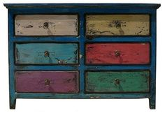 Blue Multi-color 6 Drawers Side Table Drawers eclectic side tables and accent tables