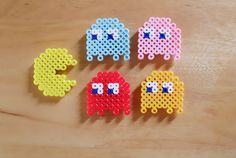PacMan perler bead Sprite Magnet Set of 5 by DelightfulEpiphany