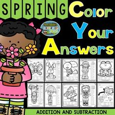 Ten Spring Time Animal Color Your Answers Worksheets for Three Addends Addition and Two-Step Subtraction Bundle, Answer Keys Included.  #FernSmithsClassroomIdeas