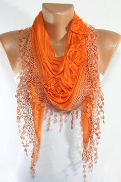 TUESDAY SALE Cotton Scarf Lace Scarf Orange Scarf by escherpe