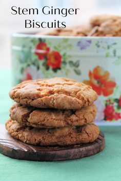 Stem Ginger Biscuits are packed with ginger heat. Plus, they're the perfect combination of crispy and chewy. British Biscuit Recipes, British Biscuits, Easy Cookie Recipes, Baking Recipes, Cafe Recipes, Yummy Treats, Sweet Treats, Ginger Cookies, Biscuit Cookies