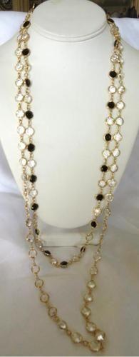 2 Austrian Crystal Sautoir Necklace Clear Jet Black Crystal | eBay-getreadygo2
