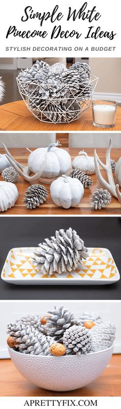 Welcome fall this season with these simple white pinecone decor ideas. It's Scandi-boho decorating on a fresh, farmhouse budget!