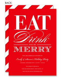 Eat, Drink and Be Merry Red #christmas #holiday #potluck #dinner #party #invitation