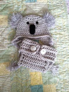 Baby koala crochet hat and diaper cover