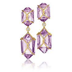 "Verdura ""Herkimer"" Earclips.      Amethyst, diamond and 18k yellow gold."