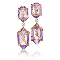 "Verdura ""Herkimer"" Earclips.      Amethyst, diamond and 18k yellow gold."