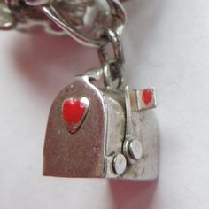 Sterling Silver Red Heart Mailbox Charm - Opens - Original Message Inside - #rubylane #heart #charm