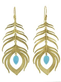 Large Peacock Feather With Turquoise Earrings