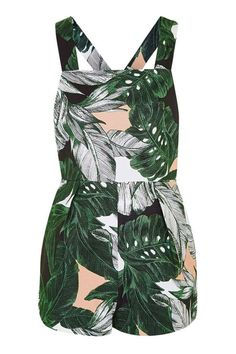 Ring Detailed Leaf Print Playsuit - Holiday Shop - Clothing - Topshop