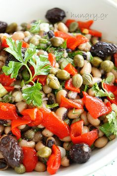 Black-eyed Pea Salad courtesy of Kitchen Stories. Black Eyed Pea Salad, Kitchen Stories, Easy Meals, Easy Recipes, Pasta Salad, Appetizers, Yummy Food, Greek Beauty, Cooking