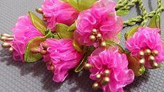 Tespih başlığı / Kurdele oyaları çiçek yapılışı - YouTube