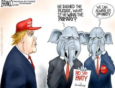 With the 3rd party pledge, what will the GOP do if trump wins the primary? There's talk of some GOP establishments going 3rd party. Cartoon by A.F.Branco ©2015