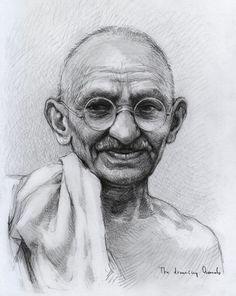 Mohandas Karamchand Gandhi by thedrawinghands on DeviantArt
