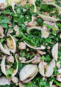 This one-dish meal has it all: rich Italian sausage (meat), briny clams (seafood), leafy greens (vegetable) and rice-like pasta (starch) to soak up the delicious juices.