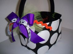 Halloween Trick or Treat Fabric Basket / Bucket / Bag / Tote. $20.00, via Etsy.