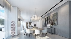 Luxury Home Design White dining room