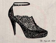 Clip Art Designs Transfer Digital File Vintage Download DIY Shabby Chic Heeled Shoe Lace French Fashion Paris No. 0136. $1.00, via Etsy.