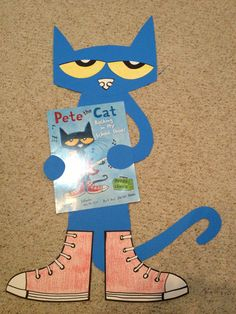 Pete the cat - great for bulletin board. Another idea - how about a lacing activity with those shoes?