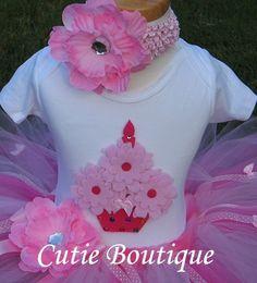 CUPCAKE Birthday TUTU Set With 3D CUPCAKE Shirt  by CutiesBoutique, $48.99