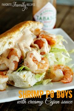 These Shrimp Po Boys bring a spicy kick to any meal, and take less than 15 minutes! The Creamy Cajun Sauce will be your new favorite dressing!