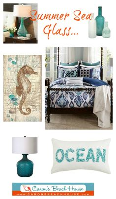 An escape to the shore - there is nothing quite like the look and feel of sea glass! Tumbled pieces in shades of cobalt blue, aqua and gree...
