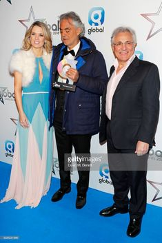 Charlotte Hawkins, Andrea Bocelli, winner of the Best Classical Artist award, and John Suchet attend The Global Awards 2018 at Eventim Apollo, Hammersmith on March 1, 2018 in London, England.  (Photo by David M. Benett/Dave Benett/Getty Images)
