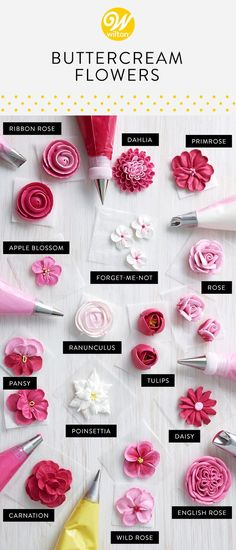 Learn how to pipe these truly beautiful buttercream flowers! These blossoms will turn any simple cake into a jaw-dropping masterpiece! Wow your friends and family at your next celebration with these timeless flower designs. #wiltoncakes #blog #howto #buttercream #piping #pipingskills #buttercreamflowers #cakes #cakedecorating #royalicing #appleblossom #carnation #dahlia #daisy #englishrose #forgetmenot #pansy #pinsettia #primrose #ranunculus #ribbonrose #rose #tulip #wildrose