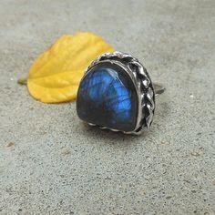 Designer Sterling silver Labradorite Ring  by FineSilverStudio