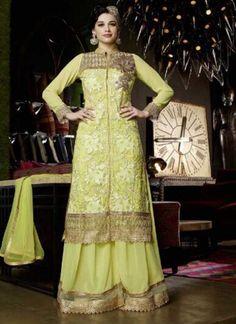 Amazing Lemon Green Embroidery Work Pakistani Suit