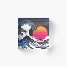Great Wave Glitch by ind3finite | Redbubble Retro Aesthetic, Vaporwave, Glitch, Waves, Art, Art Background, Kunst, Gcse Art, Beach Waves