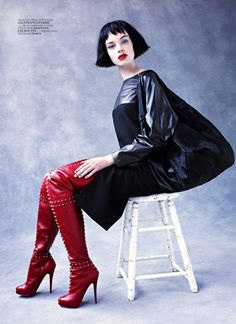Boot Fashion: Gwen Loos in Red Studded Christian Louboutin Thigh High Boots. Vogue Turkey, 11.2010.