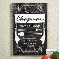 I love this personalized Kitchen Chalkboard Canvas Print! You can personalize it so it says your family name and whatever message you want! HAVE to get this for my kitchen! #Kitchen #Chalkboard #art