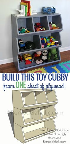Organize kids' toys with this easy to build toy cubby shelf, inexpensively built using just one sheet of plywood @Remodelaholic