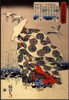 Utagawa Kuniyoshi - Tokiwa-Gozen With Her Three Children In The Snow 1840