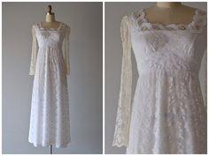 Vintage 1970's Lanz Original Lace Wedding Dress by LedbellyVintage