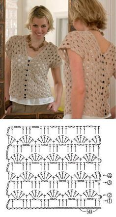 Débardeurs Au Crochet, Pull Crochet, Gilet Crochet, Mode Crochet, Crochet Vest Pattern, Crochet Shirt, Crochet Stitches Patterns, Crochet Woman, Crochet Cardigan