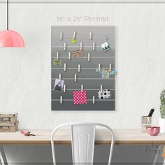 A beautiful way to display your cards and memos and decorate any room. This display board can be hanged in a dorm, kids room, teens room, office, kitchen, family space and more. Personalization option. 10 design options. Hand painted canvas with wooden clothespins. #giftforher #Bulletinboard #cardsdisplay #Grayombre #ombre #Grayroomdecor #girlsroom #giftforgirl #teensroom #officeorganizer #memoholder #homeorganizer #personalizedgift #giftforteens #freeshipping #christmasgift #hannukahgift