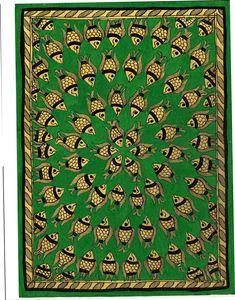 Madhubani Fish Motif Painting Indian Mithila Handmade Miniature Tribal Folk Art